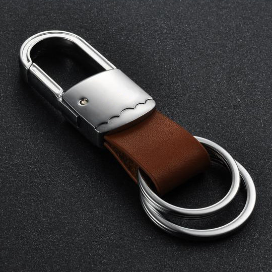 Blank logo custom stainless steel with leather key chains