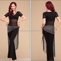 BestDance Sexy Ladies Belly Dance Costume Practice Top & Long Pants & Hip Scarf Belt Training Dress Outfit