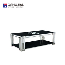 Long Tempered glass coffee table with stainless steel frame SJ150