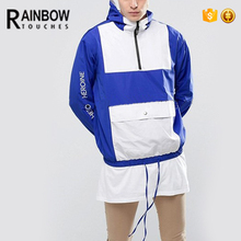 Wholesale Custom Mens Hooded Pullover Windbreaker Jacket With Your Own Design