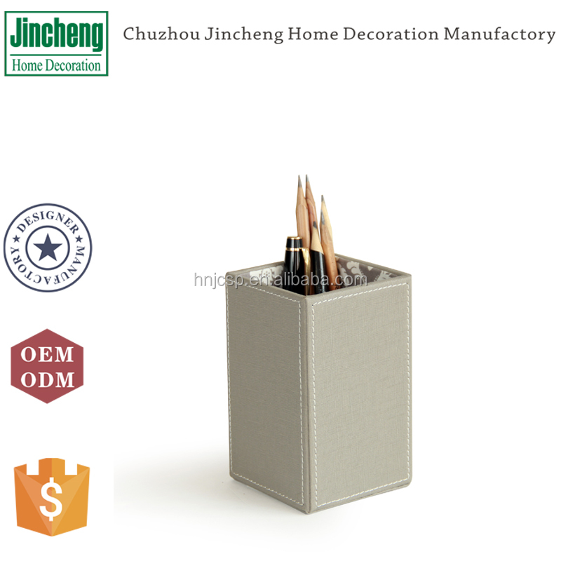 New arrival decorative square gray stitched faux leather pen holder