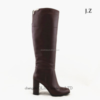 LQEB29 knitted women round toe brown Neoprene Knee high Boots, boots with zipper