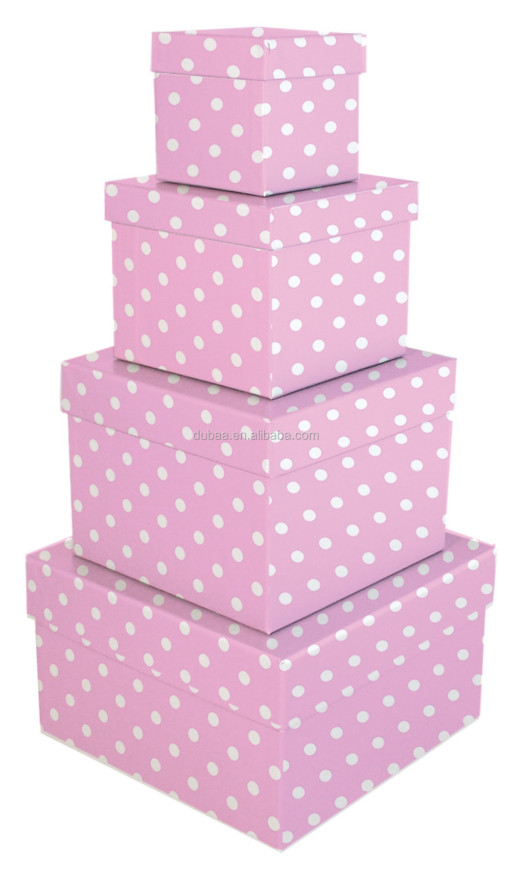 Simply Desk Nesting Boxes,Set Of 4 Nested Decorative Boxes,Pink/Blue Box Nest