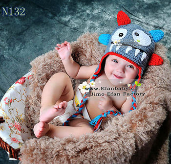 Brand new cute grey crochet baby monster hat photo props for newborns baby hat with ears