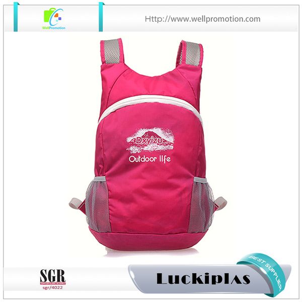 Waterproof nylon light soft cheap school travel backpack pink
