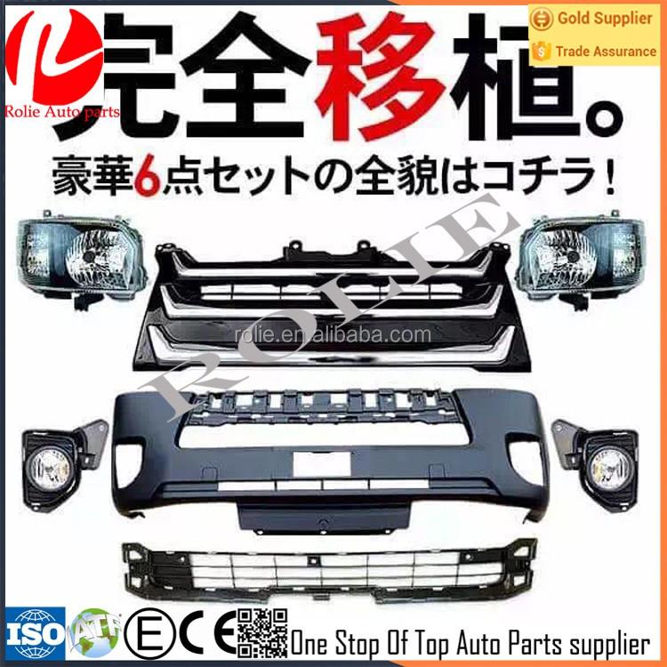 Toyota hiace 200 2014 avant de la voiture visage noir chrome pare-chocs lumière corps kit ensemble