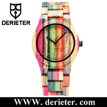 Shenzhen Factory Custom Colorful Bamboo Watch Multi Color Wood Watch