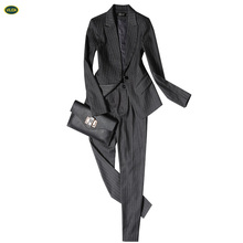 Latest Design Women Office Lady Suits Custom Embroidery Work Uniform Pants Suits 2016