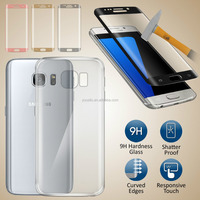 Ultra Thin Clear TPU Gel Case Cover & Tempered Glass for Samsung Galaxy S7 Edge