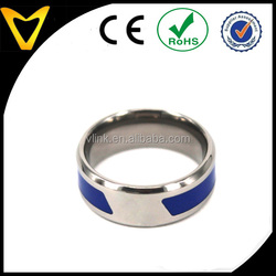 Free Lasered Logo Blue Rubber Resin Inlay 8MM Titanium Rings Titanium Wedding Band Comfort Fit Design