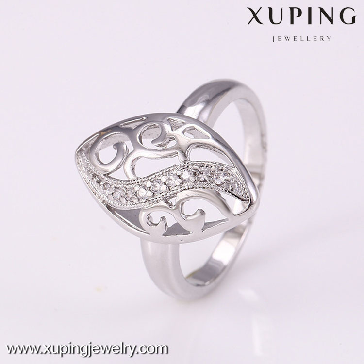 High quality rhodium gold color crystal ring