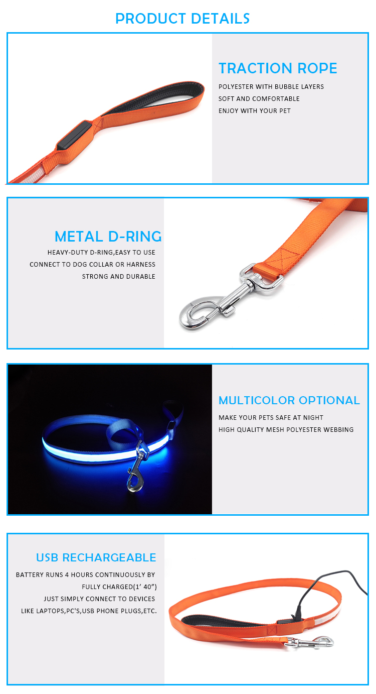 Pet Accessories Cool USB Rechargeable LED  Flashing Anti-lost Dog Leash