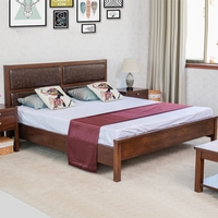Latest Wood Antique Double Bed Designs Leather High Back Designer Wooden Double Bed