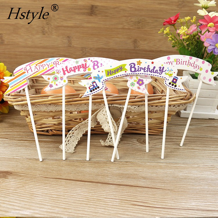Happy Birthday Cartoon Cupcake Cake Topper Cake Flags Paper Baking Supplies Baby Shower Child Party <strong>Decoration</strong> PQ101