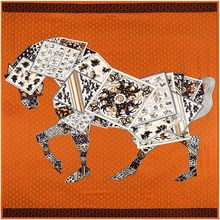 2017 women square wholesale 28 momme Poker horse design turkish 100% silk twill scarf large silk scarves