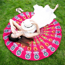 Best Selling 2017 Custom Multiple Function 150x150cm Lightweight Chiffon Round Mandala Printed Beach Towels Wholesale