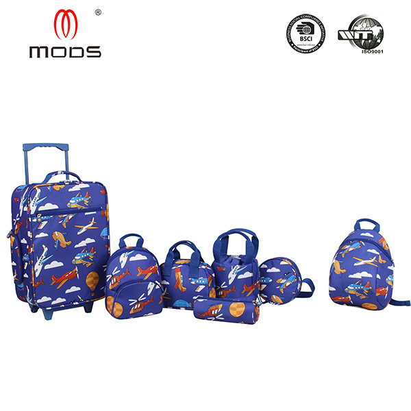 Colorful plane pattern kids luggage for boys