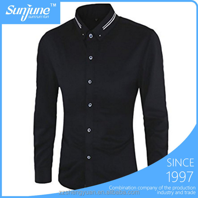 Men's Casual Fashion Black Long Sleeve Button Down Shirt