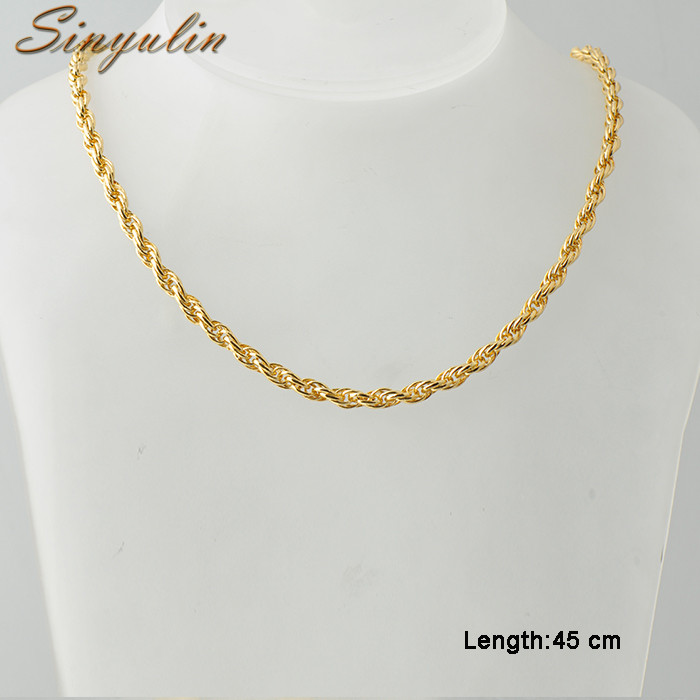 Sinyulin Jewelry Men Necklace 18k Gold Chain Necklace Fashion Gold Necklaces Chain 40021358