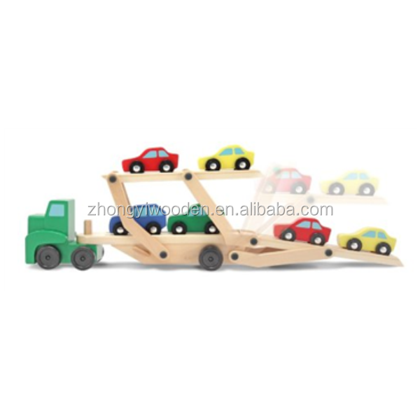 High quality custom wooden car carrier truck toys set wholesale
