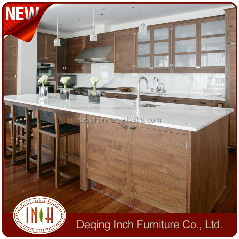 OEM High Quality solid Wooden kitchen cabinet island with white granite top