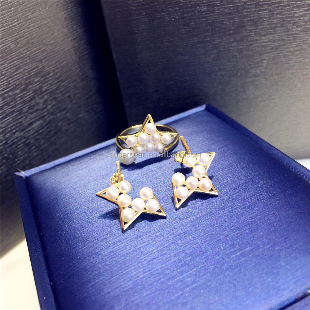 2018 Wholesale new Stars freshwater ring and earing sets fashion pearl S925 silver jewelry sets