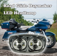 20w Dual LED Front Lights,12V Double LED Projector Lens Head Light for Road Glide Ultra motorcycle