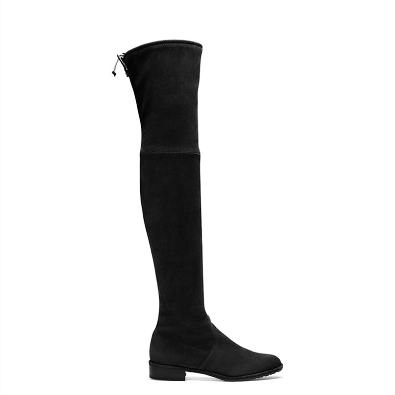 Womens Over The Knee Chrome Heel Ladies Lace Stretch Thigh High Long Leg Boots