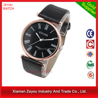 R0757 2017 customize logo printed leather strap mens watch, japanese movement 2 years warranty men watches