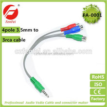 5' Feet 3 RCA Male to 3.5mm Male Jack Plug Cable Connector Audio Video AV