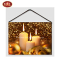 China Manufacture Nice Candle Light  Wooden LED  Canvas Painting For Living Room Decoration