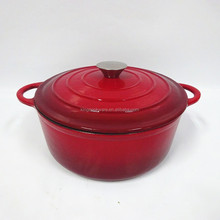 Alibaba supply 22cm round red enamel cast iron cooking pot/casserole/cookware