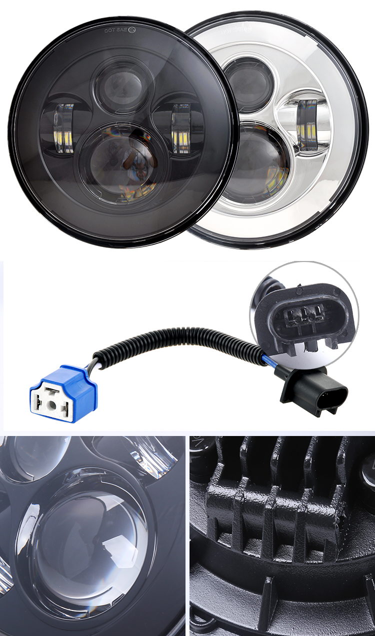 "Loyo Auto Car Drl H4 12v 45w 7inch 7 Inch 7"" Halo Round Led Projector Headlight for Jeep Wrangler jk Motorcycle Harley Off Road"