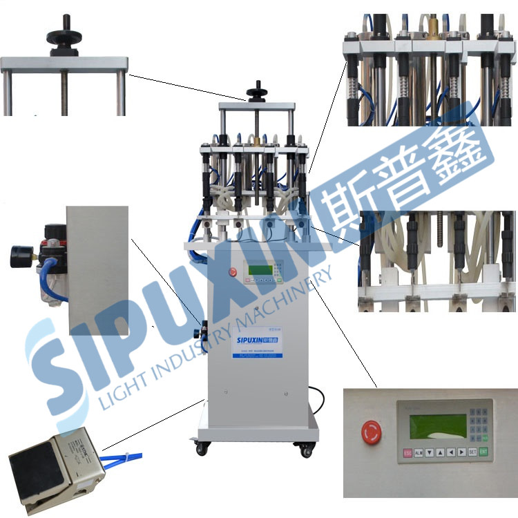 SPX Hot Sale Pneumatic Perfume Filling Machine with Four Nozzles For Small Perfume Bottle
