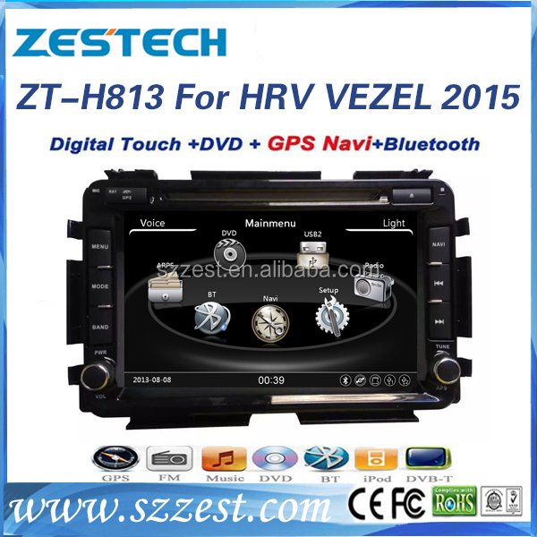 ZESTECH car audio stereo for Honda HRV VEZEL 2015 central multimedia china with dvd gps navigation radio tv bluetooth