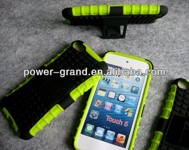 PC TPU Kickstand hybrid case cover for Apple Ipod touch 5