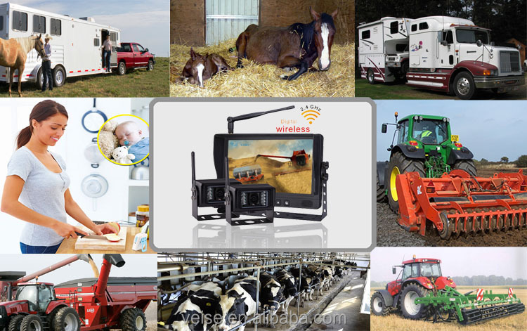 2.4GHz digital wireless camera backup system that mounts to Tractor, Combine, or Trailer