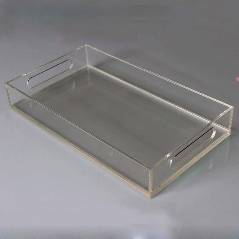 Lucite tray clear rectangle acrylic tray with paper