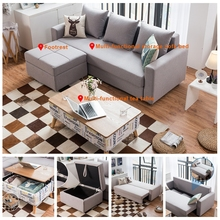 Furniture set Gl6028 linen fabric storable sectional sofa bed
