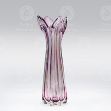 Handblown Purple Flower Shape Glass Vase