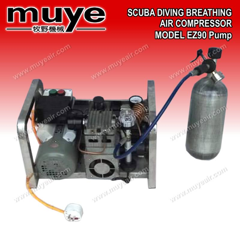 the upgraded quality guarantee scuba diving breathing air compressor EZ 90 pump/head filling rate 2.0 SCMF 60 L/MIN