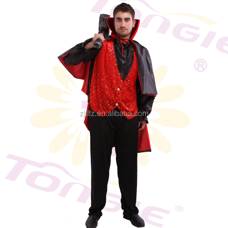 Wholesale high quality man sexy vampire cosplay costumes for halloween with cloak