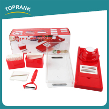Toprank Custom Logo Multi Manual Vegetable Chopper Food Salad Vegetable Fruit Cutter With 7 Interchangeable Blades