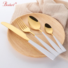 Golden with white or black handle stainless steel cutlery set