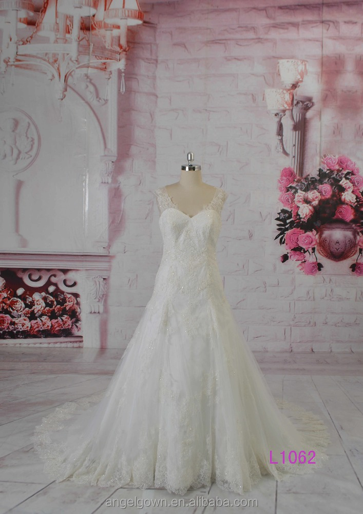 2016 guangzhou hot sale low back beaded lace alibaba A-line bridal wedding gowns