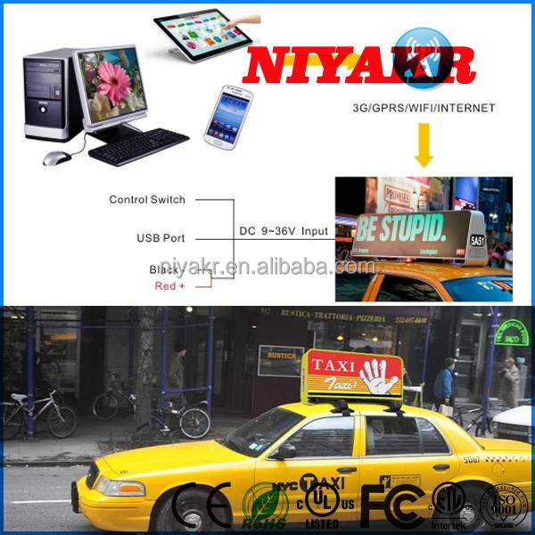 free shipping 4g/3g wireless taxi top led displays p5 p5 taxi roof outdoor advertising
