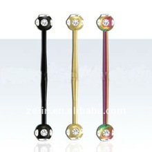 Anodized industrial bulge-post barbell - 14g, long 38mm, 6mm multi-crystal balls,body piercing jewelry