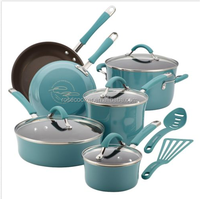 Nonstick Cookware Set 12 Pc Oven Safe Blue Porcelain Enamel Lid Pots
