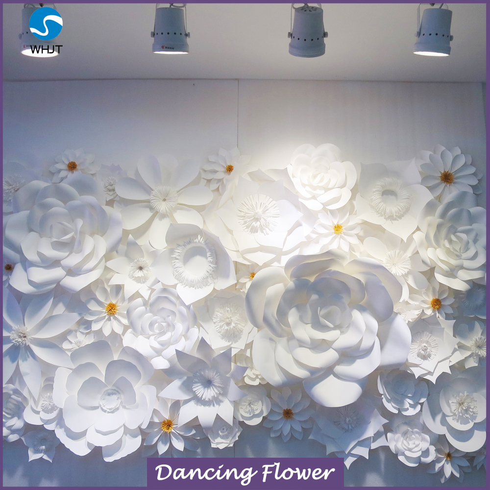 giant white paper flowers for wedding backdrops wall  wdah-46