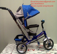 Hebei Tieniu factory kid baby tricycle & trike with cheap price good quality with full top cloth cover blue color